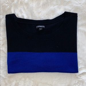 Express  Block Cropped Short Sleeve Sweater